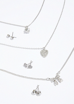 3-Pack Silver Bow Pendant Earring and Necklace Set