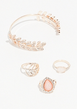 4-Pack Leaf Gem Bracelet and Ring Set