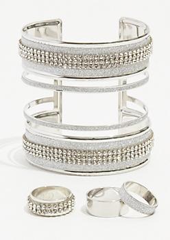 4-Pack Silver Rhinestone Stud Cuff Bracelet Set