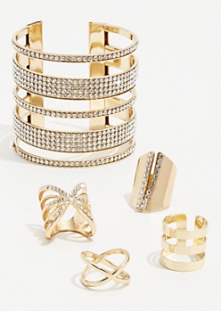4-Pack Gold Rhinestone Stud Cuff Bracelet Set