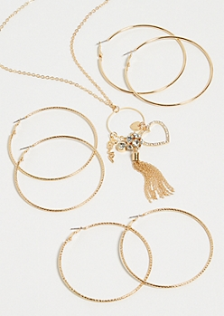 4-Pack Gold Skinny Hoop and Heart Cluster Necklace Set