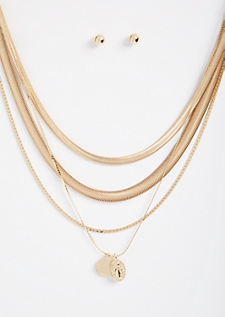 5-Pack Gold Snake Chain Saint Jewelry Set