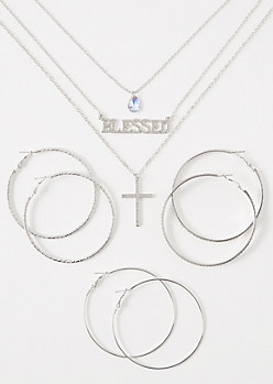 4-Pack Silver Blessed Jewelry Set