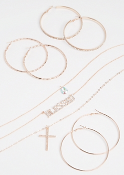 4-Pack Rose Gold Blessed Jewelry Set