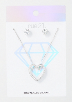 2-Pack Silver Gem Heart Jewelry Set