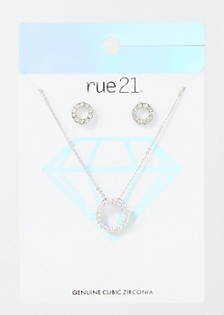2-Pack Silver Gem Circle Jewelry Set