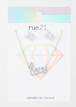 2-Pack Silver Gem Love Jewelry Set