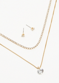 3-Pack Gold Cubic Zirconia Jewelry Set