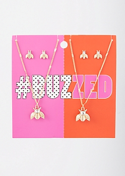 4-Pack Gold Bee BFF Jewelry Set