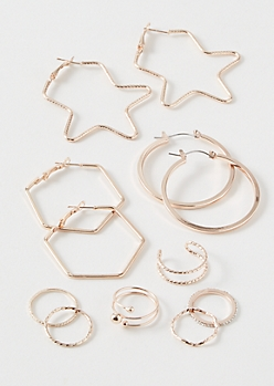 9-Pack Rose Gold Hex Star Jewelry Set