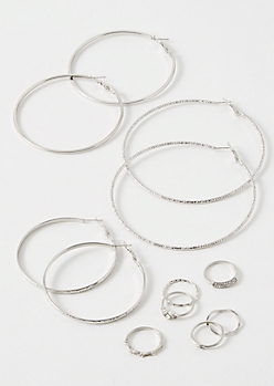 9-Pack Silver Textured Decorative Jewelry Set