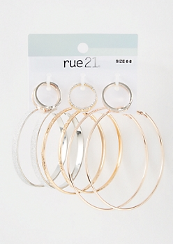 9-Pack Mixed Metal Glitter Hoop Jewelry Set