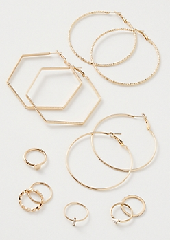 9-Pack Gold Square Twist Jewelry Set