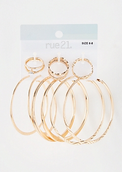 9-Pack Gold Textured Hoop Jewelry Set