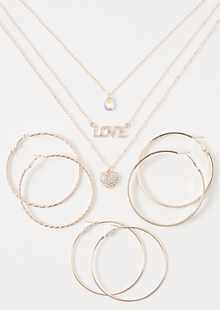 4-Pack Rose Gold Love Jewelry Set