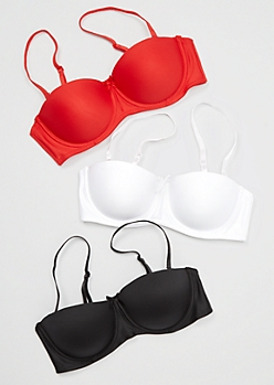 3-Pack Solid Convertible Balconette Bra Set