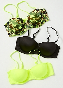 3-Pack Neon Camo Star Print Convertible Bra Set