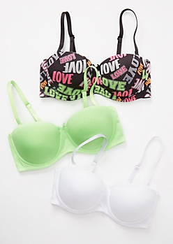 3-Pack Love Print Convertible Push Up Bra Set