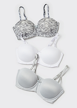 3-Pack Gray Space Dye Push Up Bras