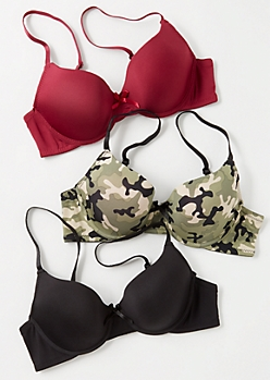 3-Pack Burgundy Camo Print T Shirt Bra Set