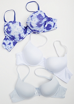 3-Pack Blue Tie Dye T Shirt Bra Set