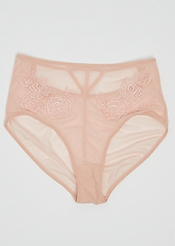 Light Pink High Waisted Floral Mesh Bikini