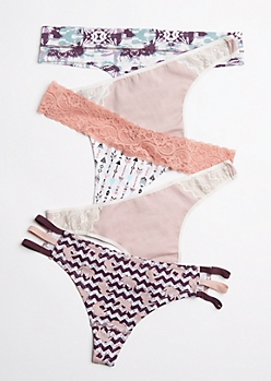 5-Pack Tribal Lace & Caged Thong Set