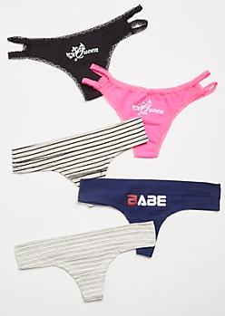 5-Pack Neon Pink Striped Thong Undies Set
