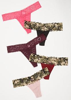 5-Pack Camo Print Striped Heart Thong Undies Set