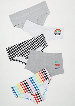 5-Pack Rainbow Checkered Print Boyshort Undies Set