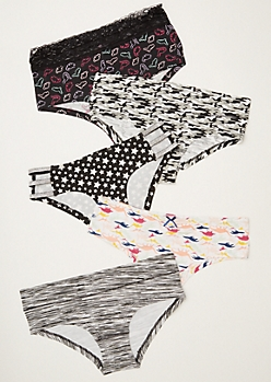 5-Pack Black Dinosaur Star Print Boyshort Undies Set