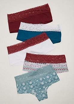 5-Pack Burgundy Lace Bikini Set