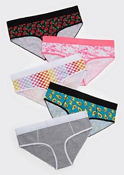 5-Pack Hustle Rose Print Boyshort Undies Set