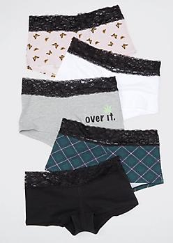 5-Pack Over It Lace Boyshort Undies Set
