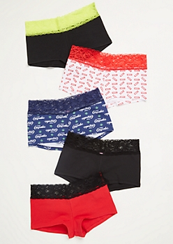 5-Pack Red Scripted Boyshort Undies Set