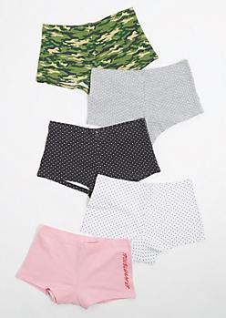 5-Pack Camo & Dots Boyshorts Set