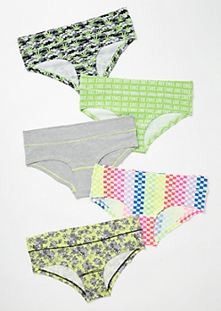 5-Pack Checkerboard Rose Weed Print Boyshort Undies Set