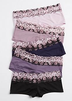 5-Pack Purple Floral Lace Boyshorts Set