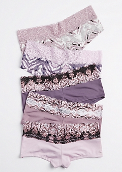 5-Pack Lavender Shadow Striped Boyshorts Set