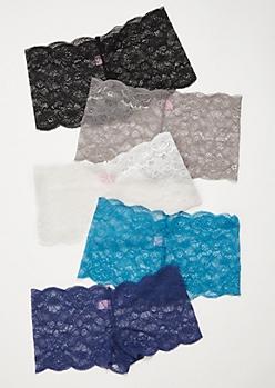 5-Pack Blue Sheer Lace Boyshort Undies Set
