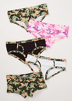 5-Pack Camo Print Boyshort Undies Set