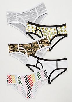 5-Pack Avocado Print Boyfriend Bikini Undies Set