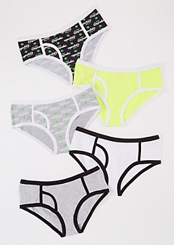 5-Pack Green Enjoy Cannabis Bikini Undies Set