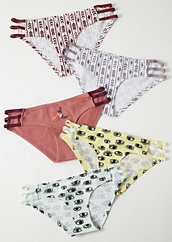 5-Pack Multi Caged Eye Border Print Bikini Undies Set