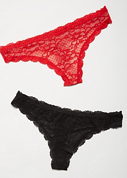 2-Pack Red Lace To Knit Undertone Thong Undies Set
