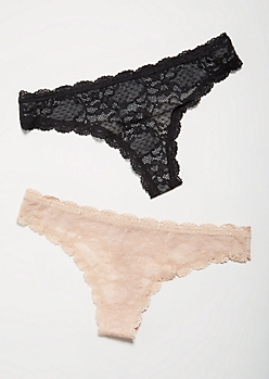2-Pack Nude Lace To Knit Undertone Thong Undies Set