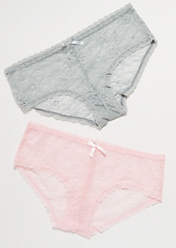 2-Pack Pink And Gray Scalloped Lace Boyshort Undies Set