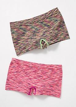 2-Pack Pink Space Dye Boyshort Undies Set