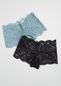 2-Pack Blue and Black Lace Boyshort Undies Set