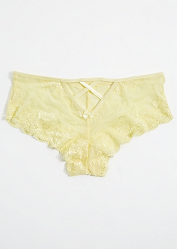 Yellow Caged Back Boyshort Undies